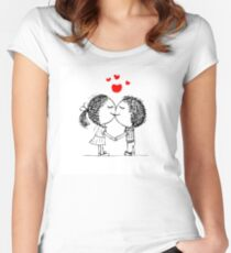 Couple in love together, valentine sketch for your design Women's Fitted Scoop T-Shirt