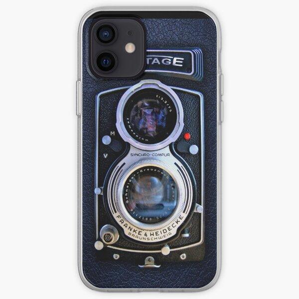 Cámara clásica de doble lente de plata negra Funda blanda para iPhone