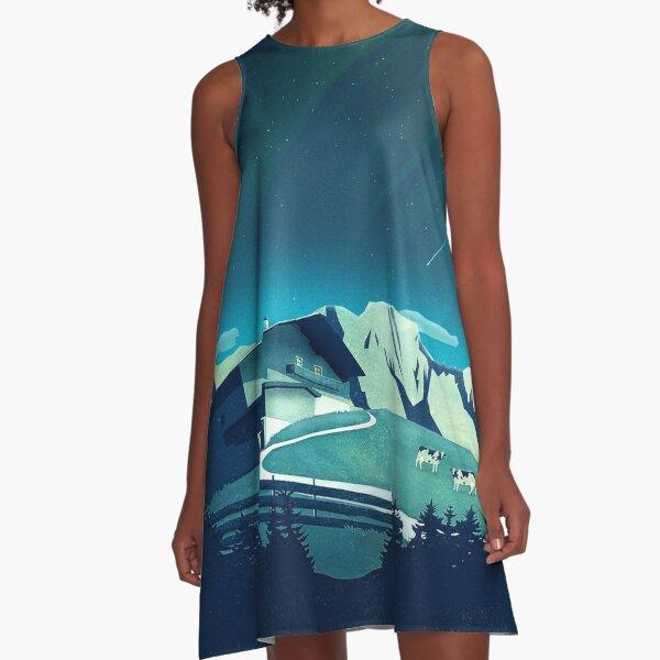 Alpine Hut A-Linien Kleid