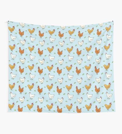 Organized Chickens Wall Tapestry