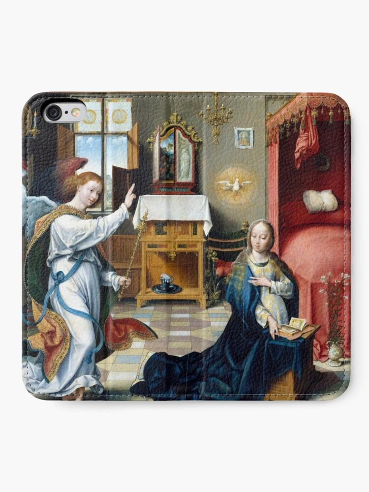 Alternate view of Joos van Cleve Annunciation iPhone Wallet