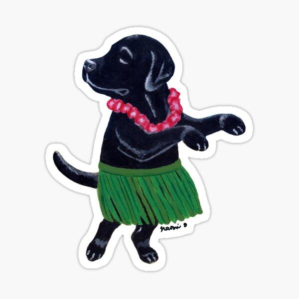 Aloha Black Labrador Sticker