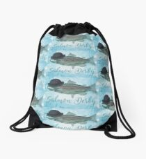 Salmon Art! Salmon Derby in Bowler Hat! Drawstring Bag