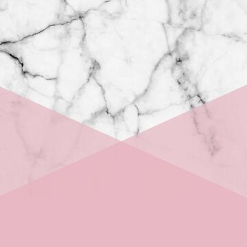 Real White marble Half Rose Pink Modern Shapes by 5mmpaper