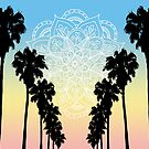 Palm Trees Mandala Sunset by julieerindesign
