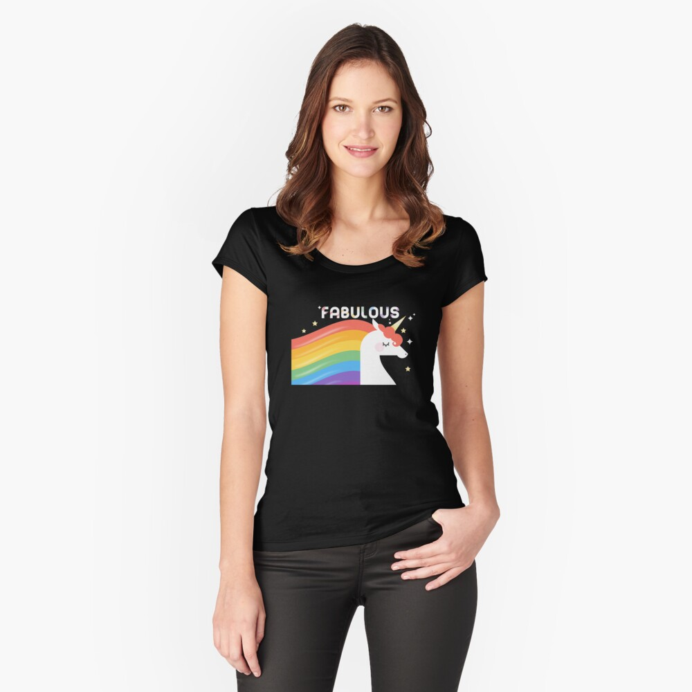 Fabulous Sparkling Rainbow Unicorn Fitted Scoop T-Shirt