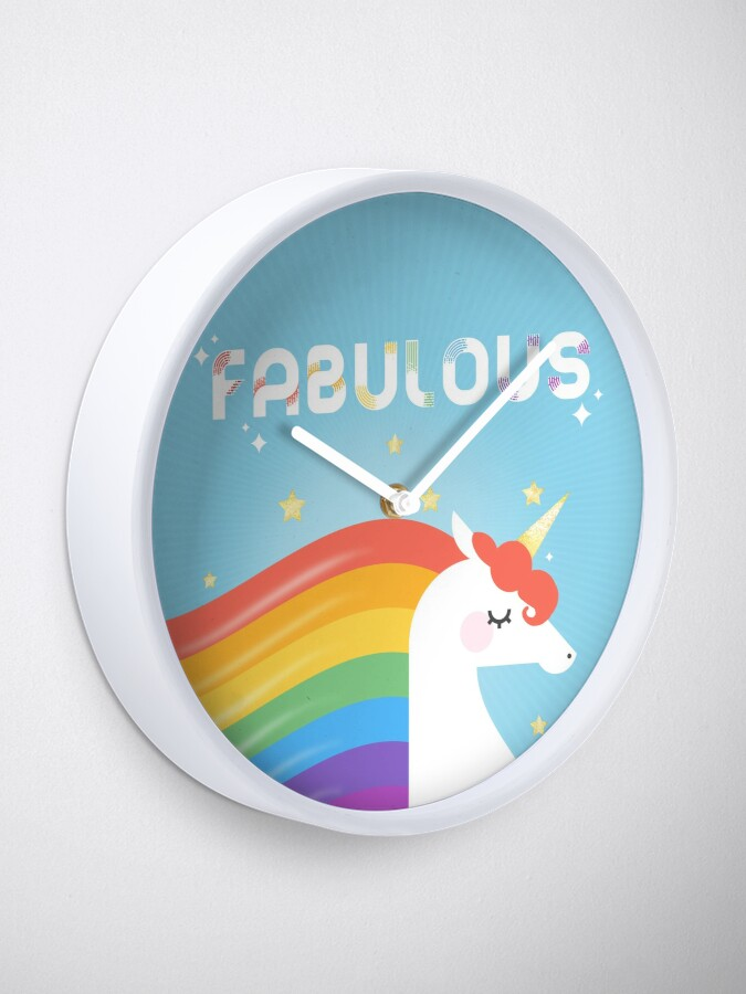 Alternate view of Fabulous Sparkling Rainbow Unicorn Clock