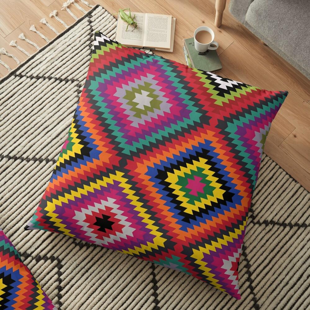 Modern Kilim - Bright Geometric pattern by Cecca Designs Floor Pillow