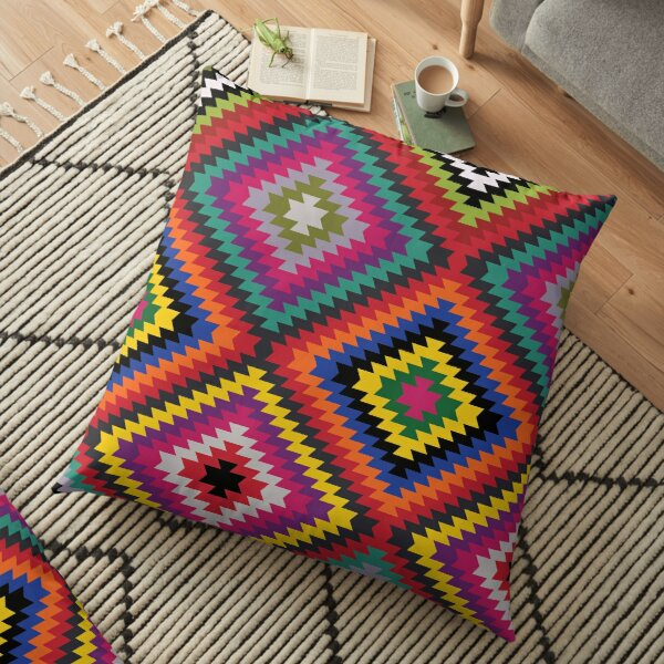 Modern Kilim - Bright Geometric pattern by Cecca Designs Floor Pillow