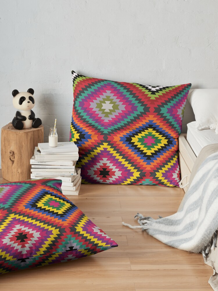 Alternate view of Modern Kilim - Bright Geometric pattern by Cecca Designs Floor Pillow