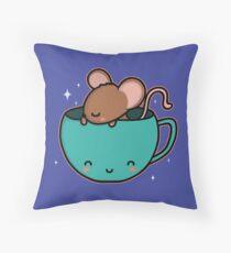 Teacup Mouse Throw Pillow