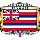Hawaii Art Deco Design with Flag by Cleave