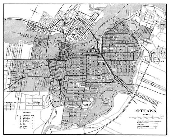 Vintage Map of Ottawa Canada (1915) BW  by BravuraMedia