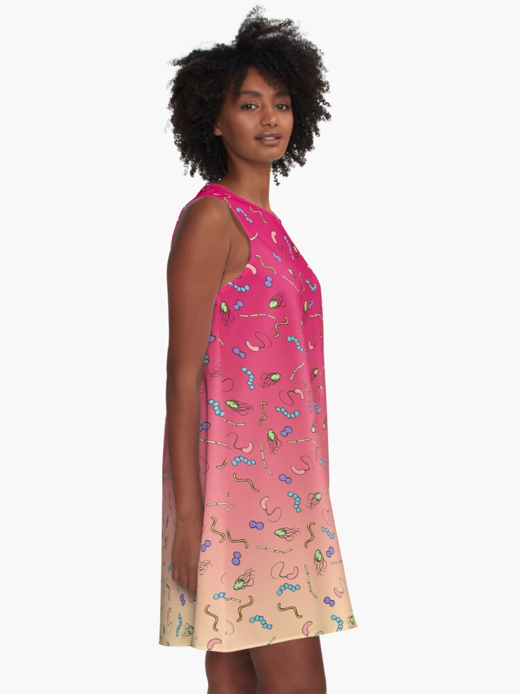 Alternate view of Sunset ombre bacteria A-Line Dress