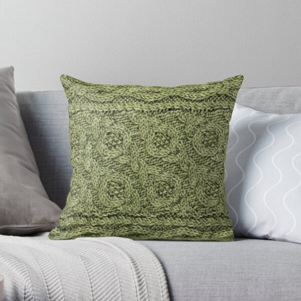 Crossways Cable - Celery Throw Pillow