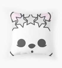 Esme Blanc de Hotot Bunny with Star Crown: Grey Outline Throw Pillow
