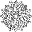 Floral mandala hand drawn zendoole design by tekslusdesign
