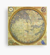 The Fra Mauro Map of the world. The map depicts Asia, Africa and Europe. Canvas Print