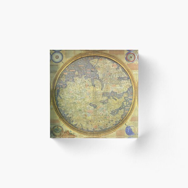 The Fra Mauro Map of the world. The map depicts Asia, Africa and Europe. Acrylic Block