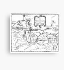 Vintage Map of The Great Lakes (1755) BW Metal Print