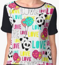 Cute and funny hand drawn panda typography love design Chiffon Top
