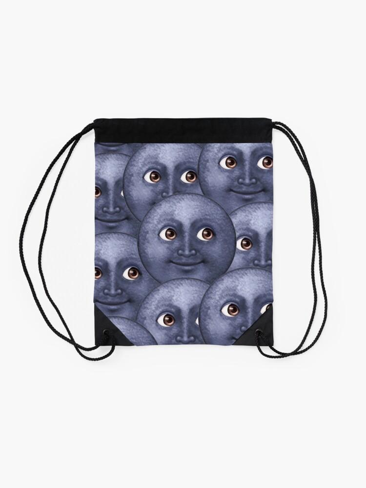 Alternate view of moon emoji  Drawstring Bag