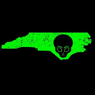 UFO Conspiracy Design Green Alien North Carolina Design Alien by drwigglebutts