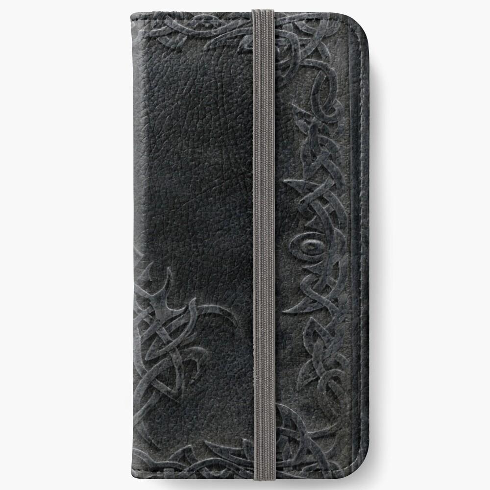 Stammes-Rand-Bucheinband-Dunkelheit iPhone Flip-Case