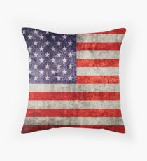 Antique American Flag Throw Pillow