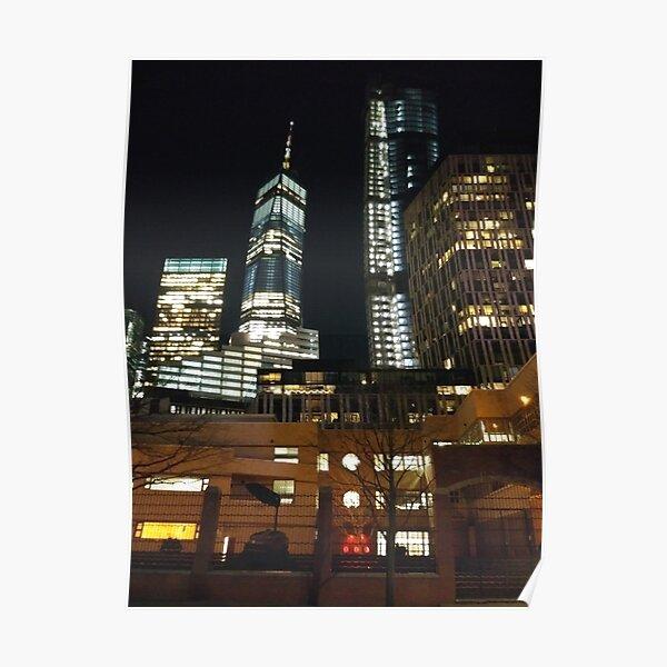 Street, City, Buildings, Photo, Day, Trees, New York, Manhattan, Brooklyn Poster