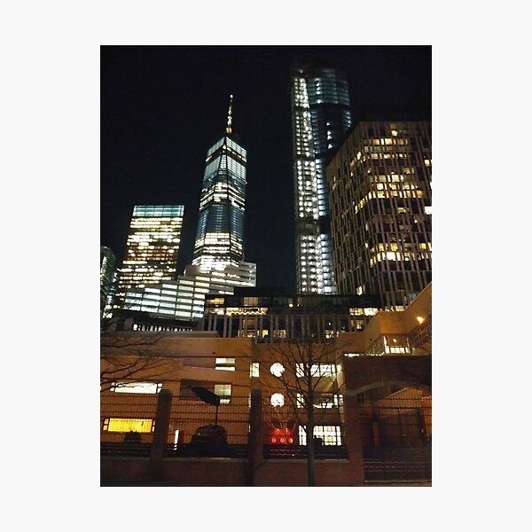 Street, City, Buildings, Photo, Day, Trees, New York, Manhattan, Brooklyn Photographic Print