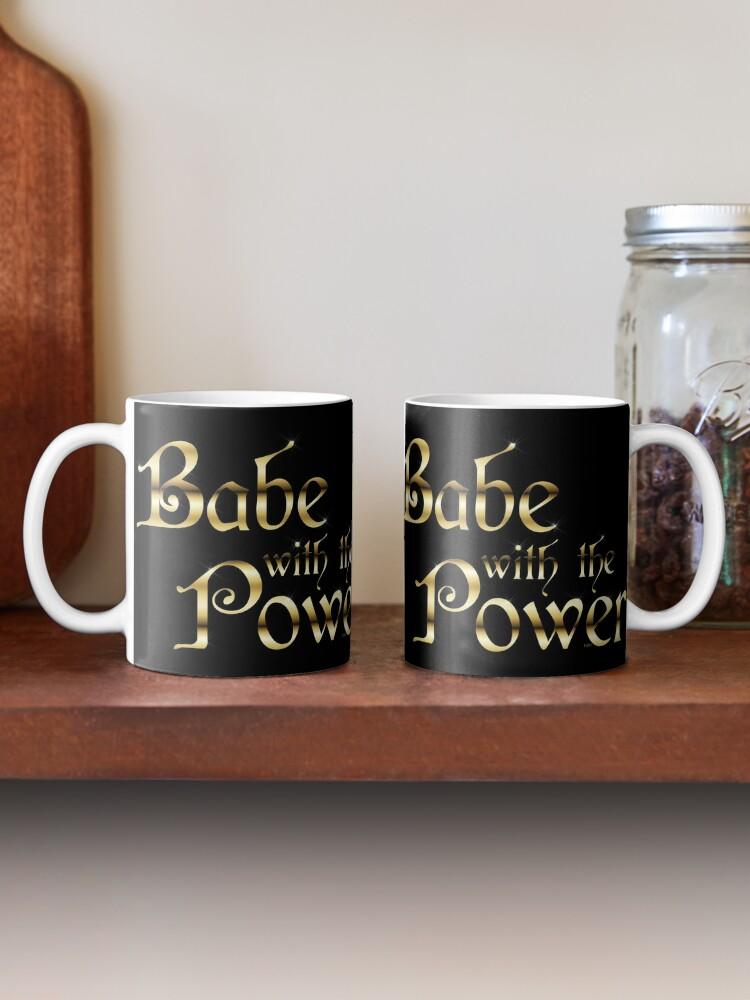 Alternate view of Labyrinth Babe With The Power (black bg) Mug