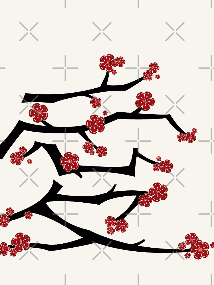 chinese ai love calligraphy with red cherry blossoms on black