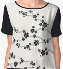 Black Oriental Cherry Blossoms | Zen Japanese Sakura Flowers Chiffon Top