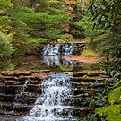 Waterfalls With Colorful Autumn Leaves by TSFPhotoCartoon