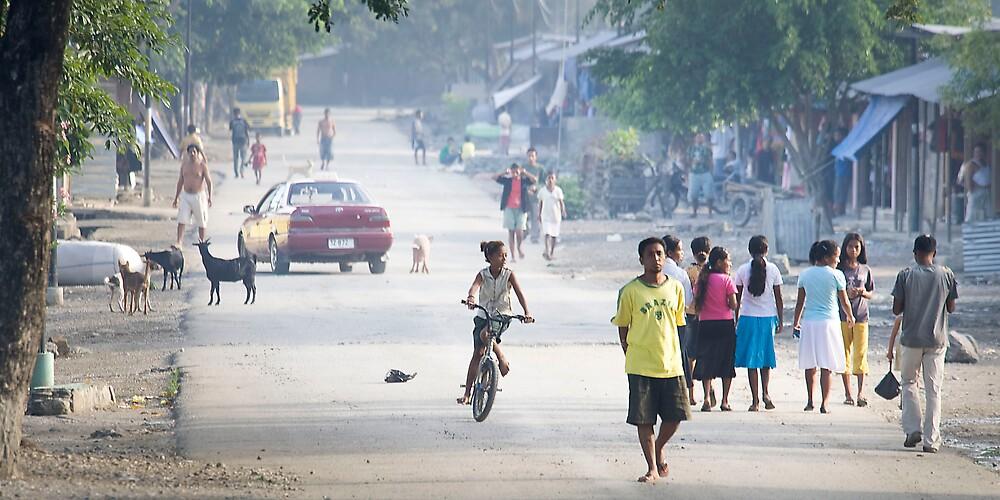 Suburban street, Dili, East Timor by John Tozer