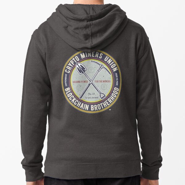 Crypt Currency Miner's Union   Blockchain Brotherhood Zipped Hoodie