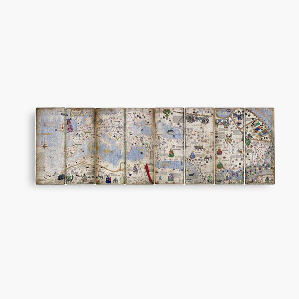 8 Panel Catalan Atlas by Abraham Cresques (1375) Canvas Print