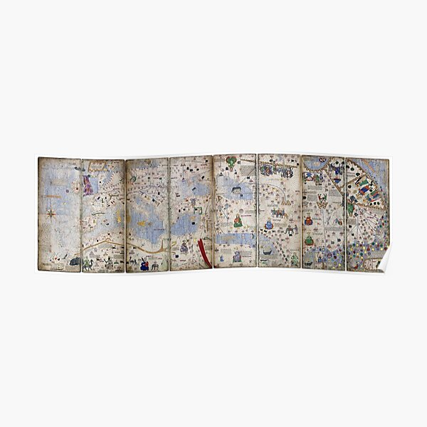 8 Panel Catalan Atlas by Abraham Cresques (1375) Poster