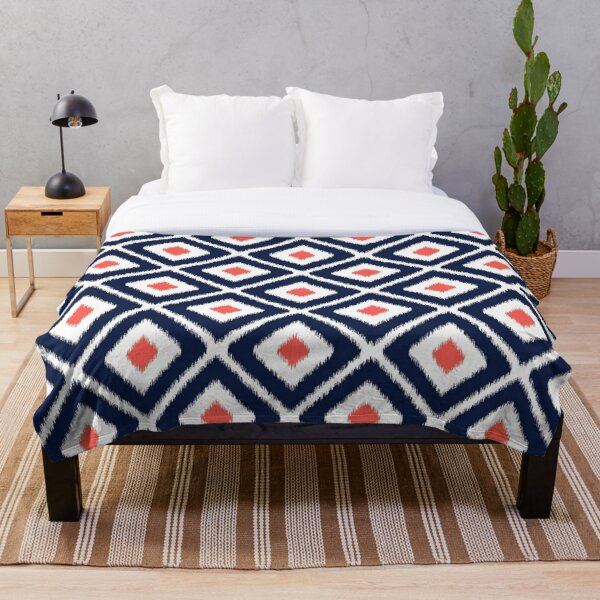 Navy blue and coral ikat diamond pattern Throw Blanket