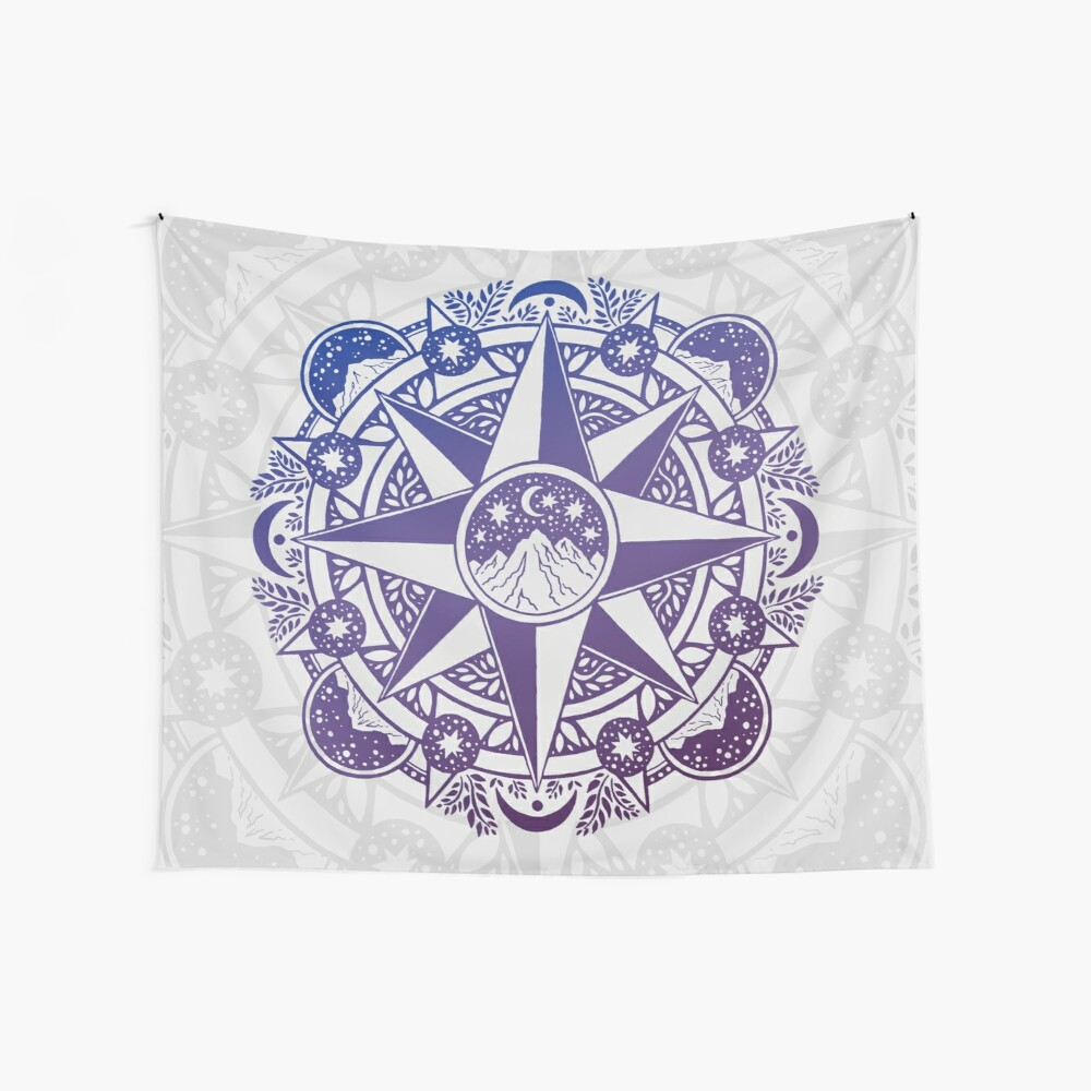 Journey to Moon Mountain   Ultra Violet Ombré Wall Tapestry