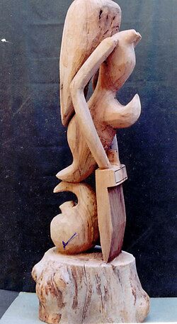 wooden statue by homa