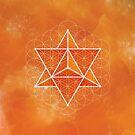 Merkaba & Flower of Life on orange calcite by RedCloudDesign