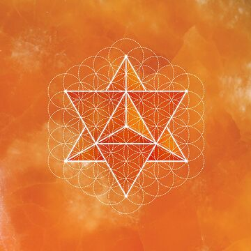 Merkaba & Flower of Life on orange calcite by RedCloudDesign