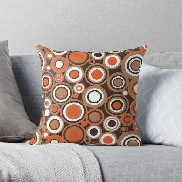Orange, White and Brown Circle Retro Pattern Throw Pillow