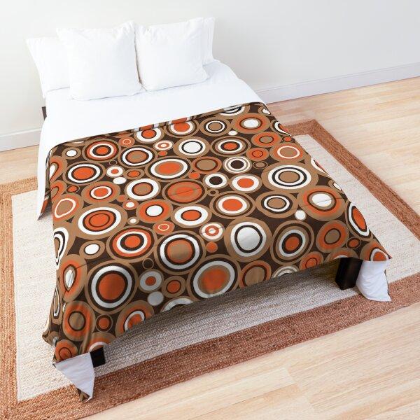 Orange, White and Brown Circle Retro Pattern Comforter