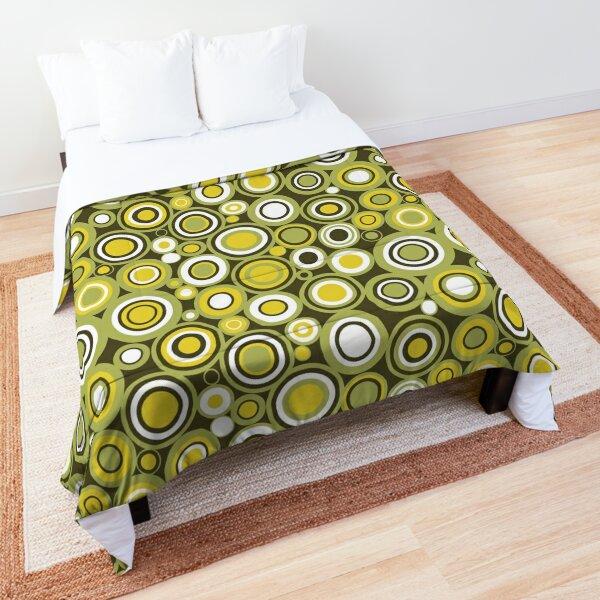 Green, Yellow and White Circle Retro Pattern Comforter