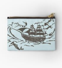 Ship at Storm Block Print Studio Pouch