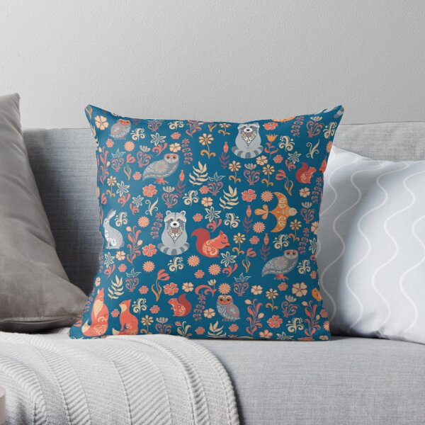 Fairy-tale forest. Fox, bear, raccoon, owls, rabbits, flowers and herbs on a white background. Seamless pattern. Throw Pillow