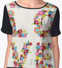 LOVE Spring Flowers in Red Chiffon Top